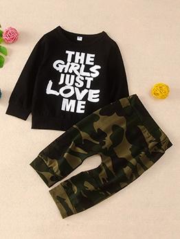 New Arrival Letter Print Camo Kids Clothing Set
