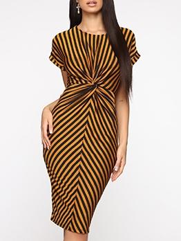 Striped Fitted Women Short Sleeve Dress
