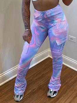 Fashion Tie Dye Pockets Women Stacked Pants