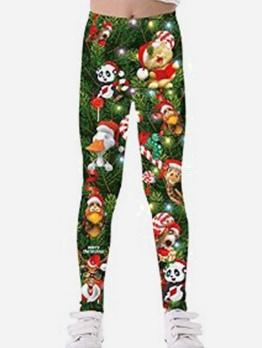 Christmas Print High Waist Girls Pants