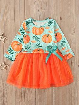 Halloween Pumpkin Print Gauze Patch Girls Dress