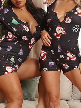 Long Sleeve Christmas Loungewear Casual Rompers