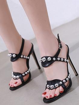 Fashion Rivet Open Toe Heel Sandal