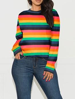 Crew Neck Rainbow Color Striped Sweater