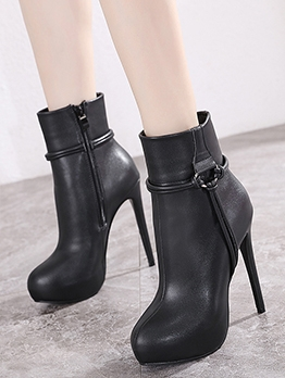 Korea New Zipper Stiletto Ankle Boots