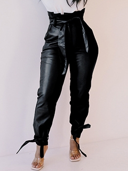 High Waist Tie Up Black Leather Pants