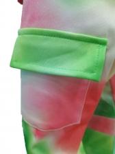 Tie Dye Zipper Up Hooded Long Sleeve Dress