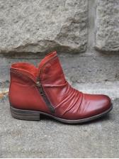 Zipper Up Low Heel Draped Solid Winter Boots