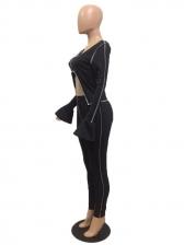U Neck Cropped 2 Piece Pants Set For Women