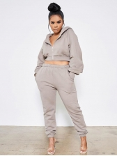 Hooded Collar Pure Color Sport Wear 2 Piece Outfits