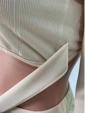 Turtleneck Long Sleeve Crop Top And Flare Pants Set
