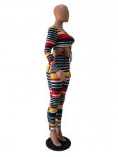 Multicolored Stripe Lace Up Two Piece Pants Set