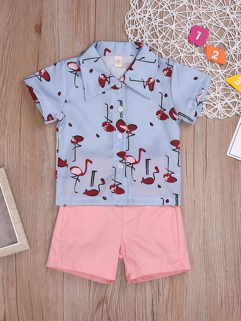 Cartoon Animal Print Two Piece Shirt Set For Girls