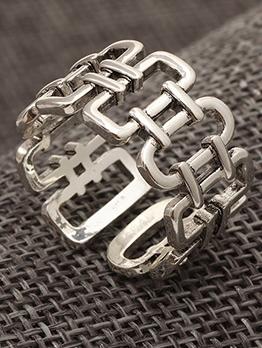 Vintage Punk Style Silvery Men Ring