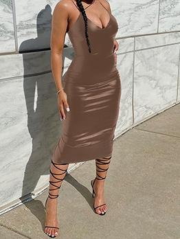 Hot Sale Low Cut Sleeveless Bodycon Midi Dress