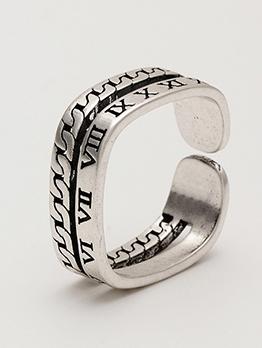 Roman Numerals Square Shape Ring For Men