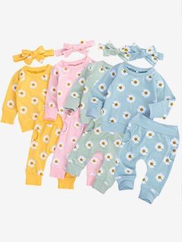 Daisy Print Crew Neck Baby Clothing Set