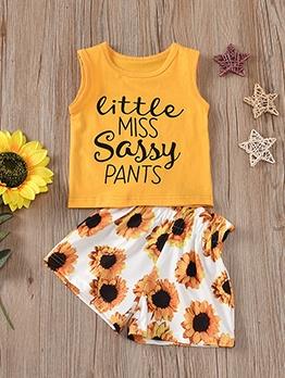 Sunflower Print Summer Girls Clothing Set