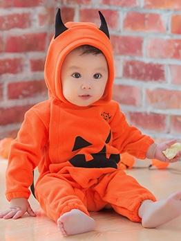 Halloween Pumpkin Print Baby Sleepsuit
