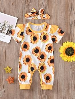 Sunflower Print Short Sleeve Newborn Romper