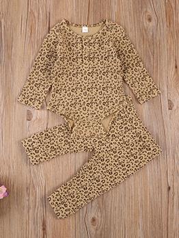 Leopard Print Long Sleeve 2pcs Kids Clothing Set