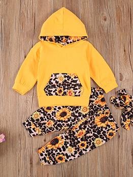 Leopard Sunflower Print Hoodies Girls Set For Winter