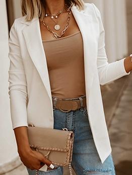 Simple Style Work Wear Solid Blazer For Women