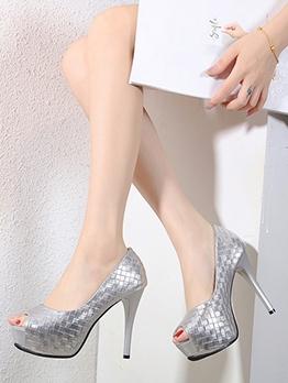 Stylish Solid Plaid Platform High Heels