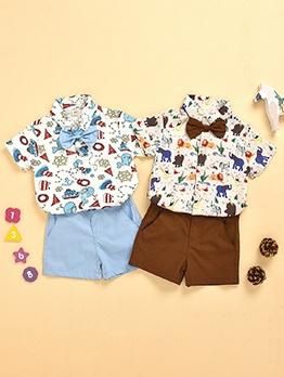 Cartoon Animal Print Boys Summer Shirt Set