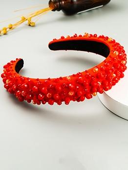 Red Beading Korean Solid Hair Hoop