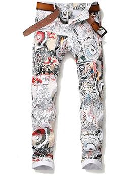 Casual Digital Printing Skinny Mens Pants