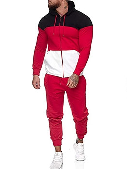 Contrast Color Zipper Up Hoodie Workout Clothes