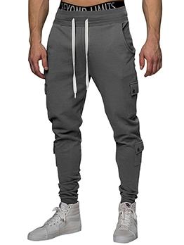 Solid Color Multiple Pockets Jogger Pants