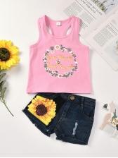 Girls Sunflower Print Sleeveless Tank With Short Jeans