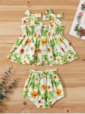 Strawberry Print Summer Clothing Set For Girls