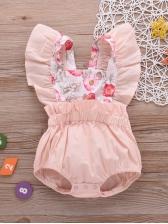 Square Collar Sleeveless Pink Baby Girls Romper