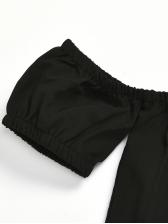 Off Shoulder High Waist Wide Leg Striped Pants Set