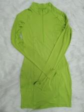 Solid Half Zipper Long Sleeve Bodycon Dress