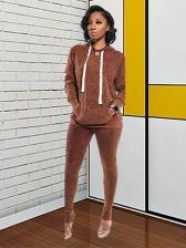 Casual Wear Autumn Solid 2 Piece Pants Set
