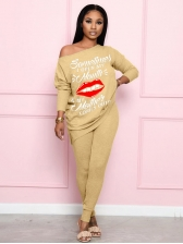 Inclined Shoulder Printed Long Sleeve 2 Piece Sets