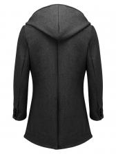 Solid Hooded Woolen Long Coat For Men