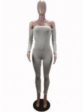 Off Shoulder Pure Color Skinny Jumpsuit
