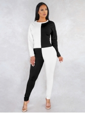 Color Block Long Sleeve Casual Two Piece Pants Set