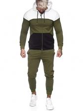 Contrast Color Zipper Up Hoodie Workout Clothes