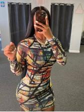 Skinny Print Nightclub Long Sleeve Dress