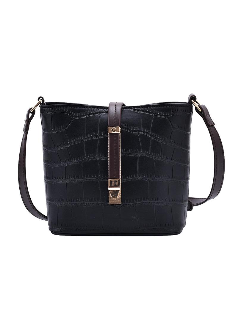 Alligator Print Solid Adjustable Belt Shoulder Bags