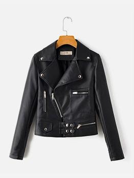 Trendy Solid Zipper Long Sleeve Motorcycle Jackets