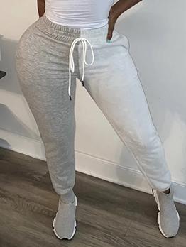 Contrast Color Drawstring Casual Long Pants