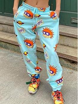 Casual Print Loosen Pants For Women