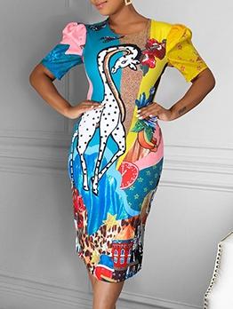 Color Block Printed Back Zipper Ladies Dresses
